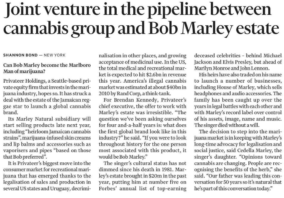 La noticia de Bob Marley en el Financial Times