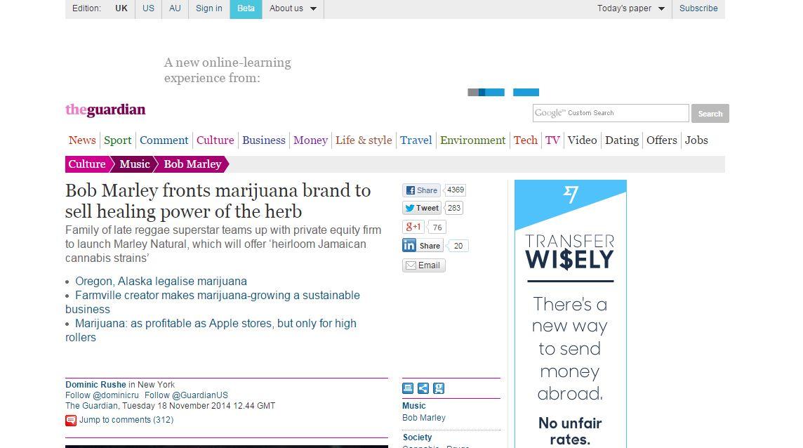La noticia de Bob Marley en el 'The Guardian'