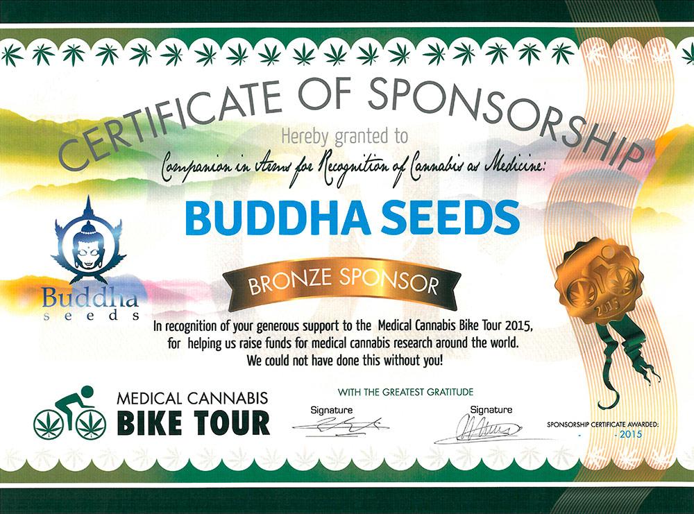 Certificado de Buddha como sponsor