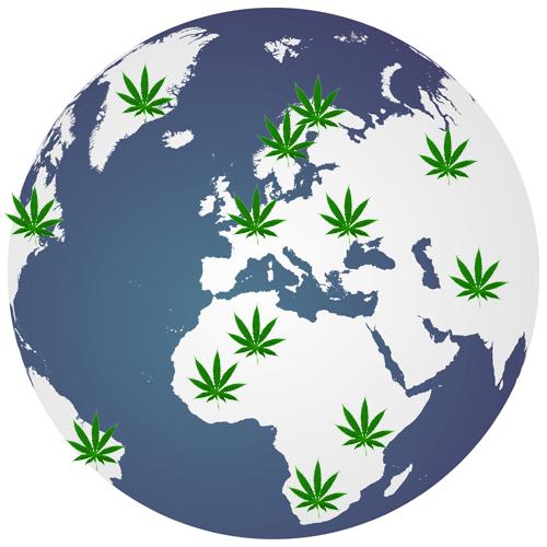 El globo terráqueo del cannabis medicinal